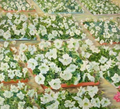 Janet Gaynor, My Love to You, Paul [White Petunias], circa 1977-78, Oil on canvas