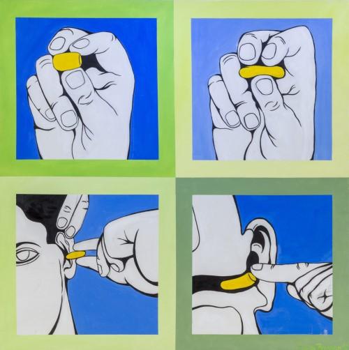 Earplugs painting by Pierce Brosnan